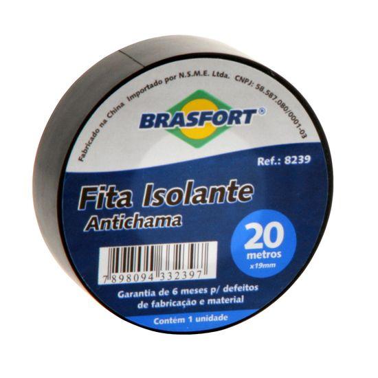 Fita Isolante Antichama Preta 19mm x 20m BRASFORT - DEZ / 10