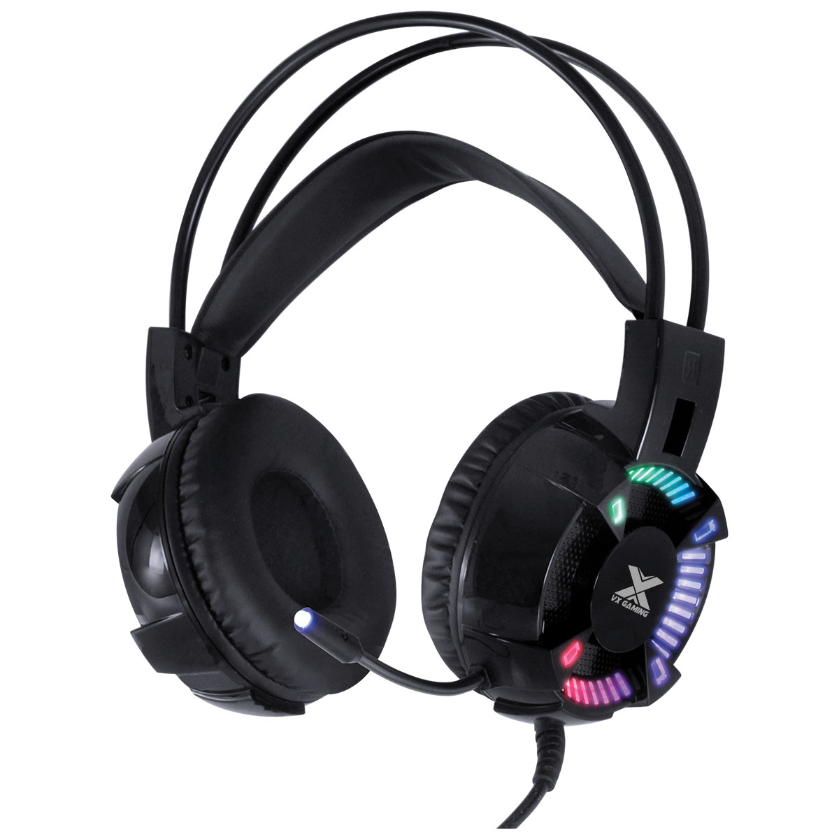 FONE HEADSET GAMER VX GAMING ENYA AUDIO 7.1 LED RGB ESTÁTICO USB, MICROFONE FLEXÍVEL COM SOFTWARE DE ÁUDIO - GH400