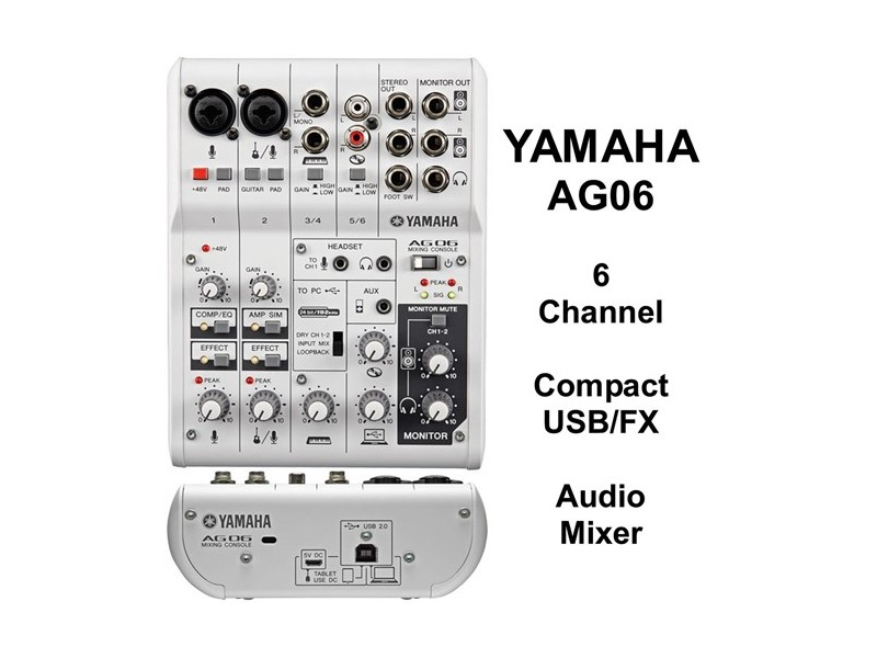 Mesa de Mixagem Multifuncional Yamaha AG-06 de 6 canais com interface áudio USB