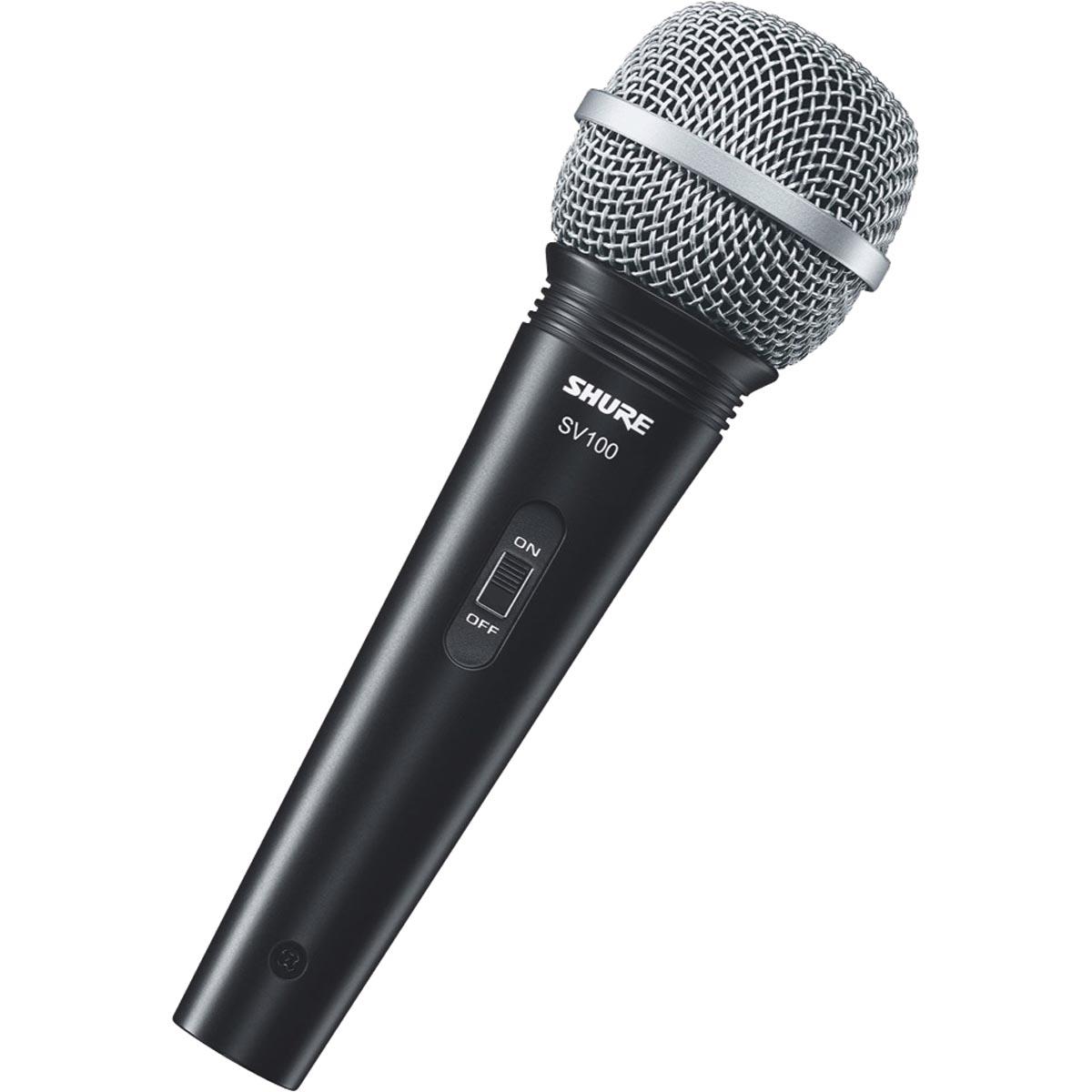 MICROFONE PROFISSIONAL VOCAL COM FIO SV100 COM CABO 4,5 METROS