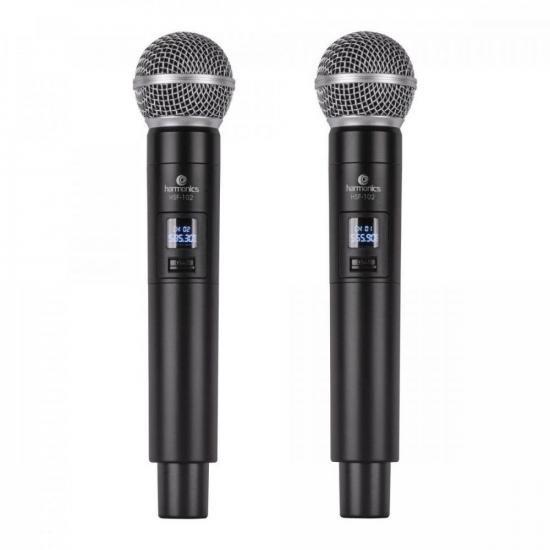 Microfone sem Fio de Mão Duplo UHF HSF-102 HARMONICS