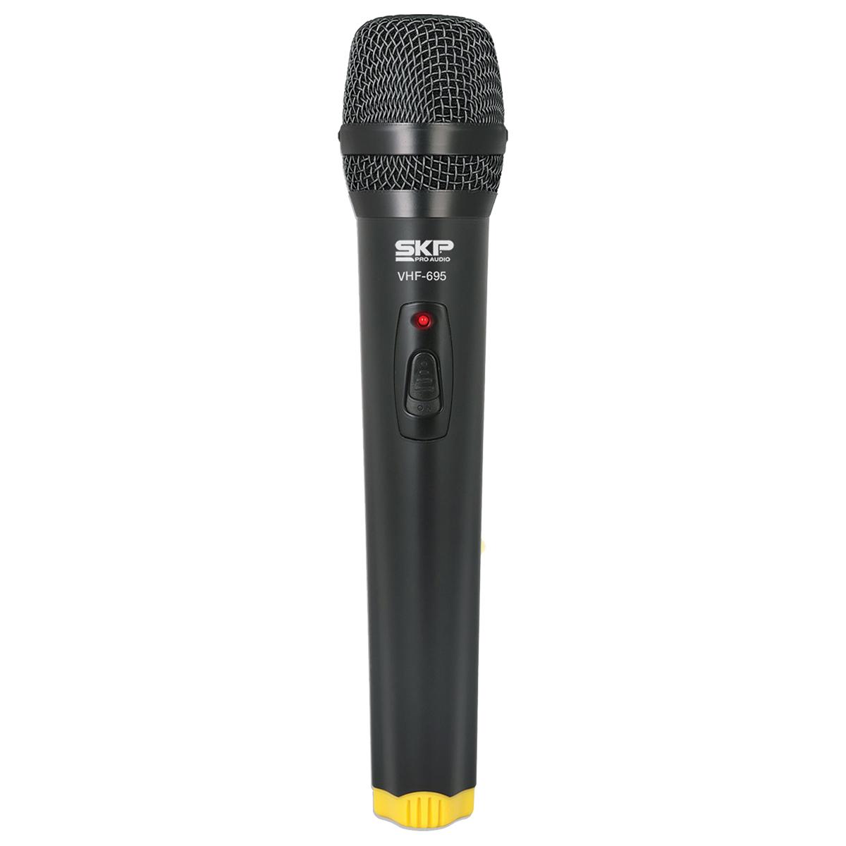 MICROFONE SEM FIO DE MÃO, FREQUENCIA VHF ALCANCE 50 METROS VHF695