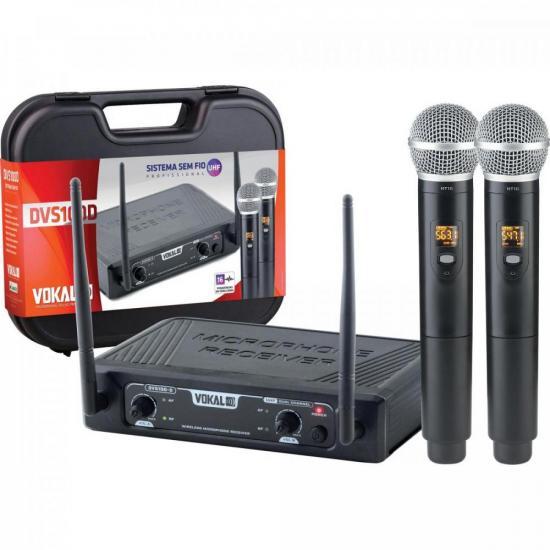Microfone Sem Fio Duplo DVS100DM VOKAL
