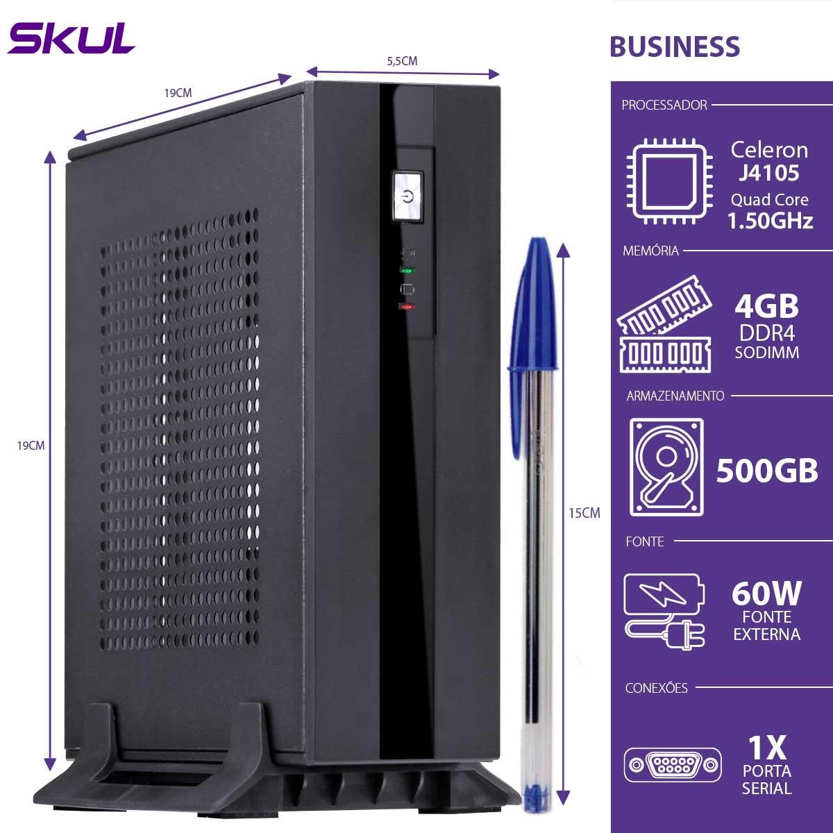 MINI COMPUTADOR BUSINESS B100 - CELERON QUAD CORE J4105 1.50GHZ 4GB DDR4 SODIMM HD 500GB PORTA SERIAL FONTE EXT.60W