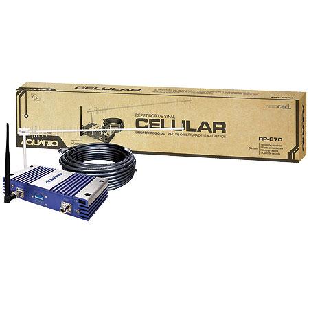 REPETIDOR DE SINAL CELULAR 70DB 800MHZ RP-870 ACOMPANHA ANTENA + CABO 15 METROS