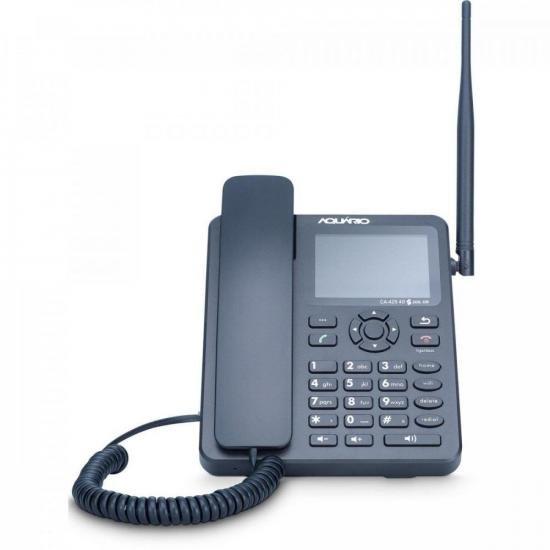 Telefone Celular Fixo 4G 2 Chip CA42S Preto AQUÁRIO