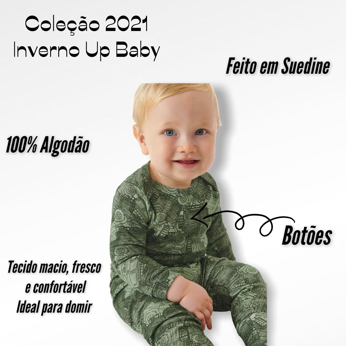 MACACÃO UP BABY LONGO  MASCULINO MENINO CARROS VERDE