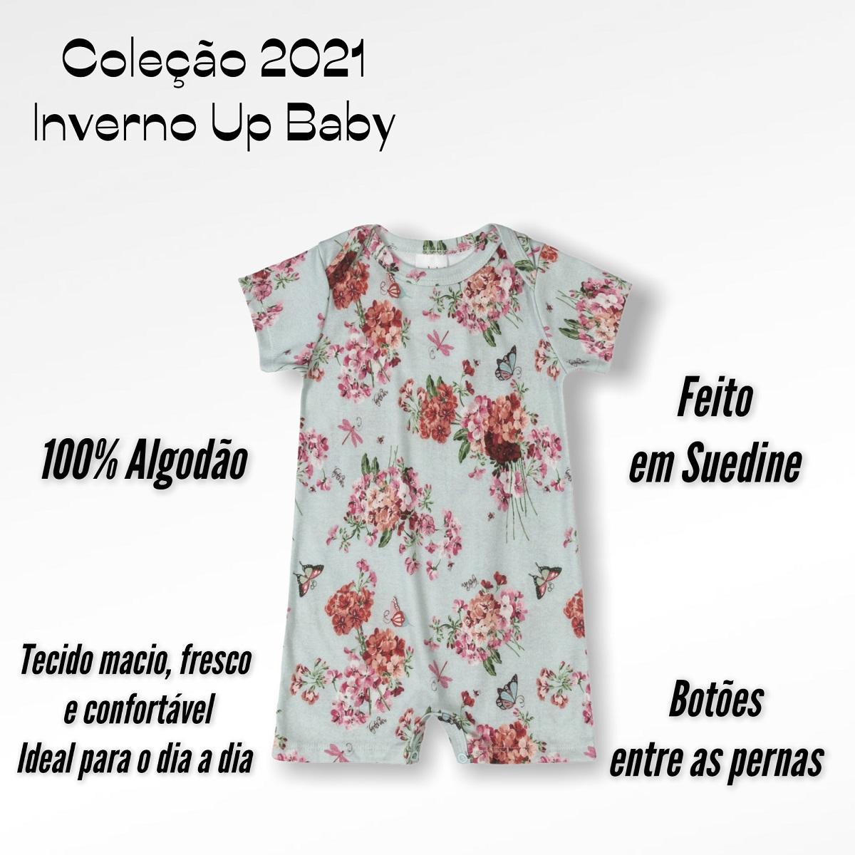 MACAQUINHO UP BABY CURTO FEMININO MENINA FLORAL AZUL