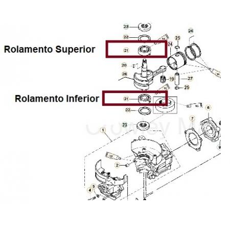 ROLAMENTO INFERIOR JOHNSON / EVINRUDE 15 HP / MERCURY 2 A 9.8 HP
