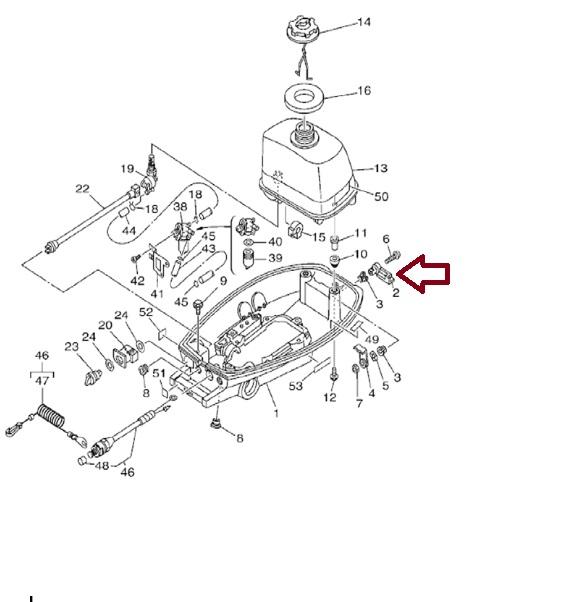 Alavanca Fechamento Capo Yamaha 4 HP e Maranello 5 / 6 HP