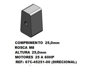 Anodo Sacrificio Yamaha 25 a 60 HP (Direcional)