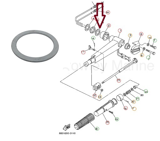Arruela Alavanca Direção Yamaha 25 / 30 HP
