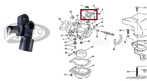 Avanco Carburador Com Rolete Johnson / Evinrude 4 a 15 HP