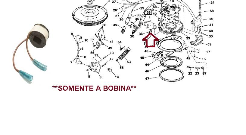 Bobina Carga Johnson / Evinrude 15 / 25 / 40 / 50 HP