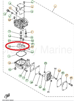 Boia Carburador Yamaha 9.9 / 15-F