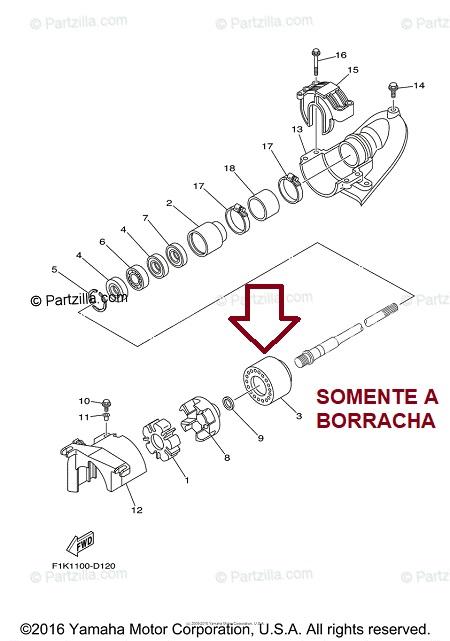 Borracha Casa Rolamento Jet Yamaha VX 700 / 1100
