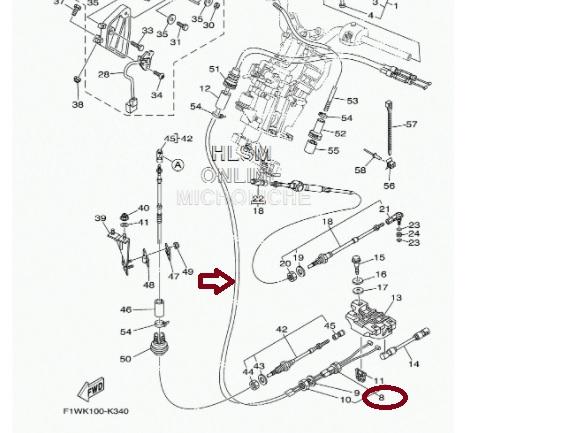 Cabo Trim Jet Yamaha SHO - ( PAR) Com Porca Grande