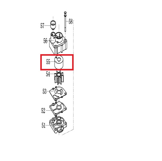 Copo Bomba Agua Mercury / Hidea 15 / 18 / 20 HP