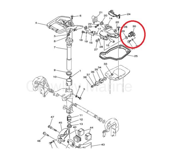 COXIM SUPERIOR / AMORTECEDOR YAMAHA 25 HP - MODELO VM / DM