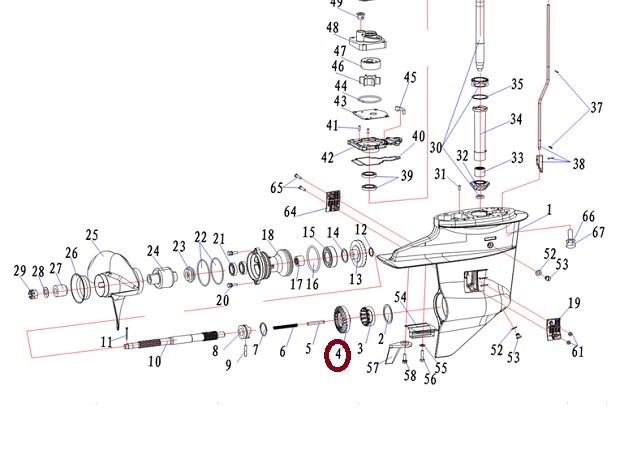 ENGRENAGEM FRENTE YAMAHA 25 / 30 HP - MODELO BM / VM