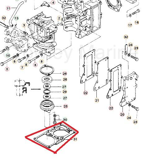 Junta Base Motor Maranello 10 HP / Mercury 8 / 9.8 HP