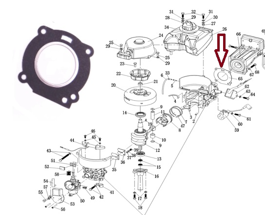 Junta Cabeçote Hidea 3.5 HP / Mercury 3.3 HP