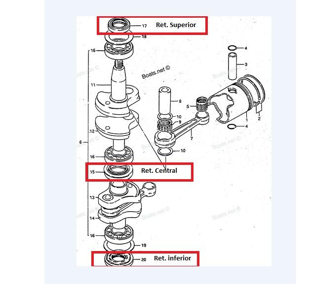 Kit Retentor Virabrequim Suzuki 20 / 25 / 30 HP