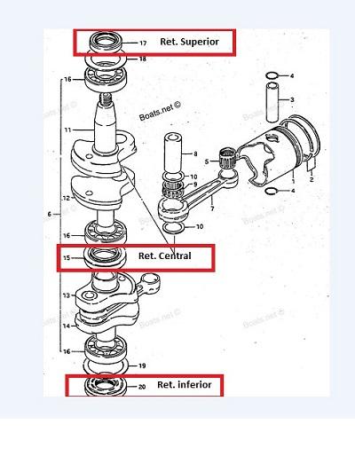 Kit Retentor Virabrequim Suzuki 9.9 / 15 HP