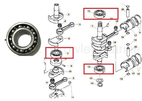 Kit Rolamento Virabrequim Mercury 15 / 18 HP