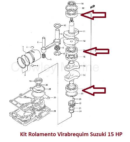 Kit Rolamento Virabrequim Suzuki 9.9 / 15 HP