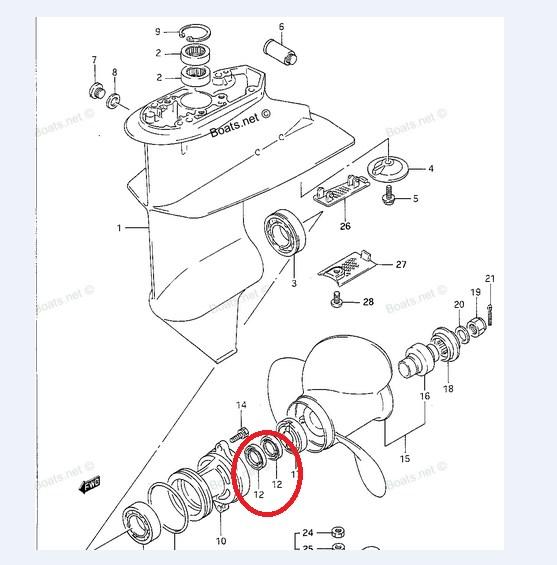 Retentor Eixo Helice Suzuki / Yamaha 9.9 / 15 HP