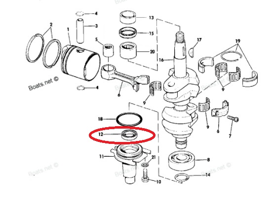Retentor Inferior Johnson / Evinrude 9.9 /15 HP