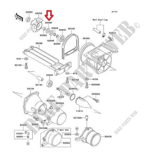 Retentor Turbina Jet Kawasaki 650 / 750 / 800 Diant./Traseiro