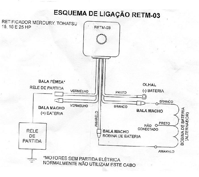 Retificador Voltagem Mercury 9.9 / 15 / 25 / 30 HP