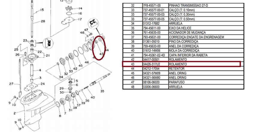 Rolamento Agulha Rabeta Yamaha 9.9 / 15 HP