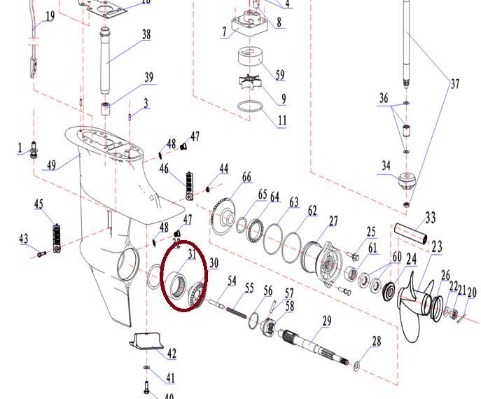 Rolamento Eixo Cardan Yamaha 9.9 / 15 HP