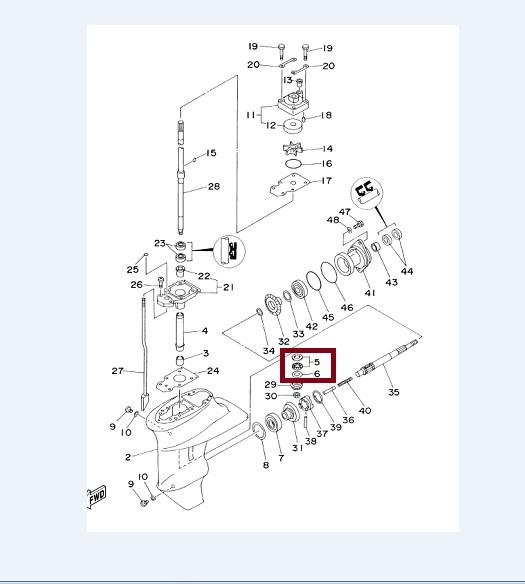 Rolamento Encosto Pinhao Yamaha 9.9 / 15 HP