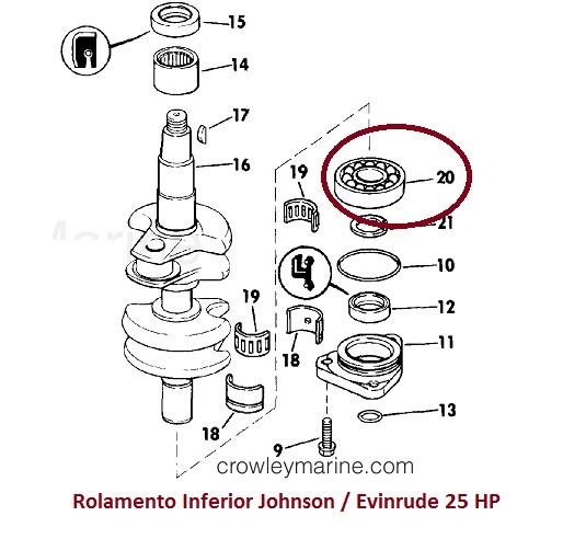 Rolamento Inferior Johnson / Evinrude 25 HP
