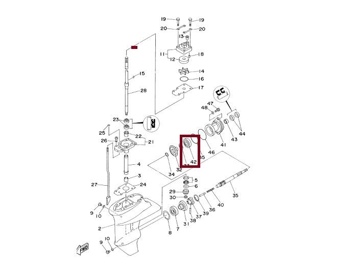 Rolamento Rabeta Yamaha 9.9 / 15 HP - Moderno