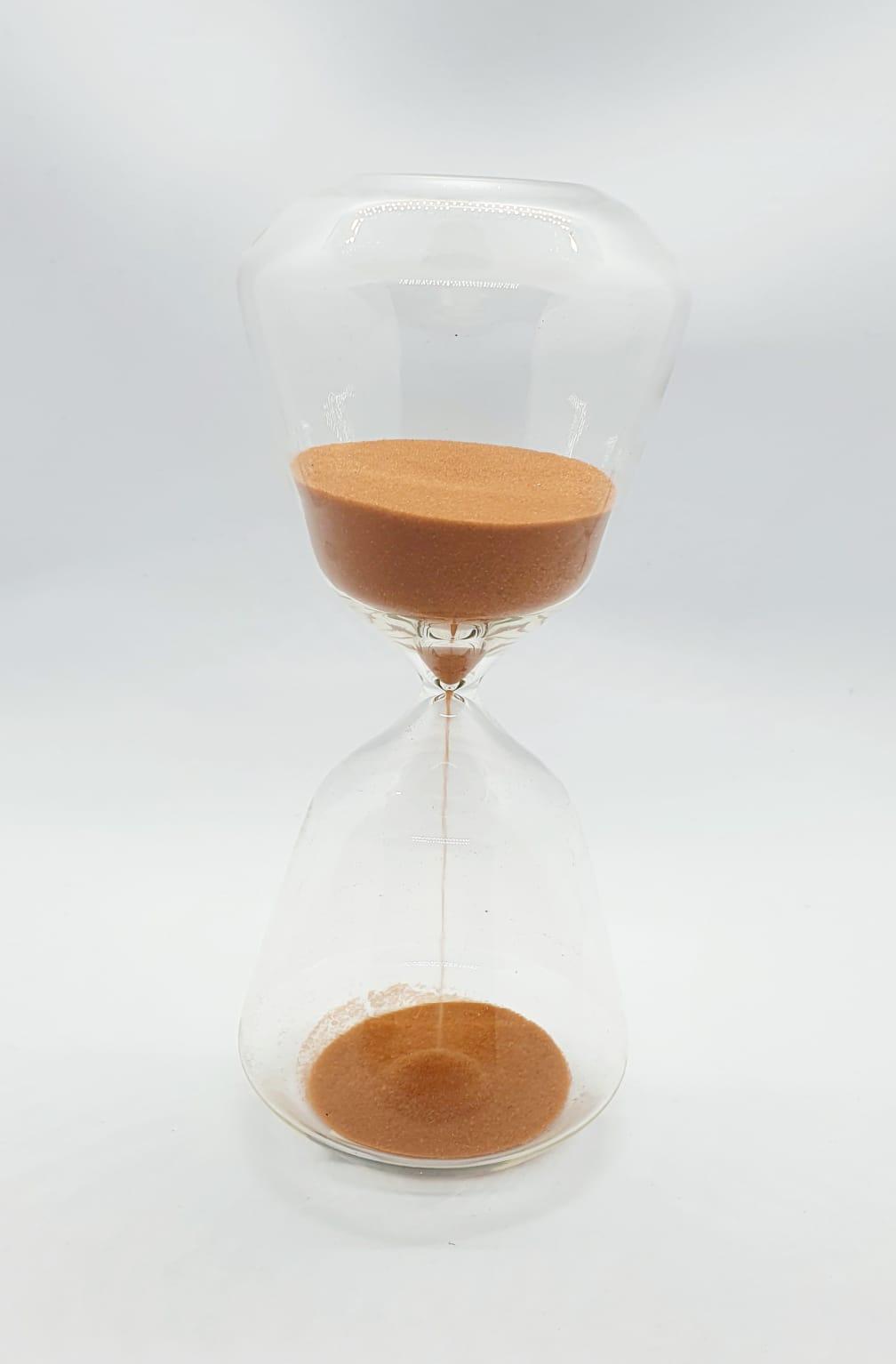 Ampulheta em vidro areia terracota