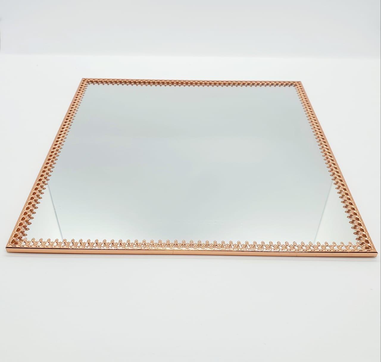 Bandeja espelhada quadrada rose gold