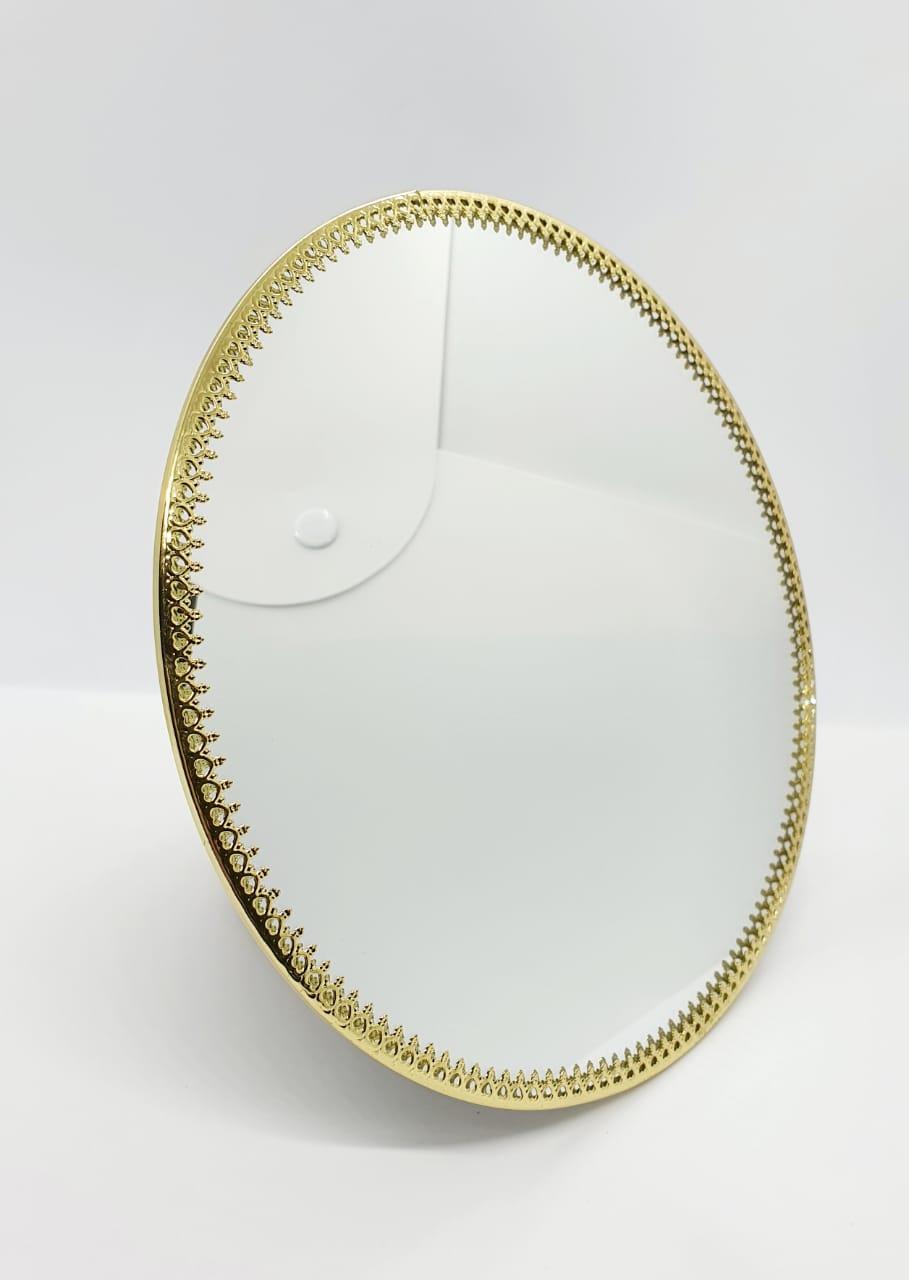 Bandeja espelhada redonda dourada