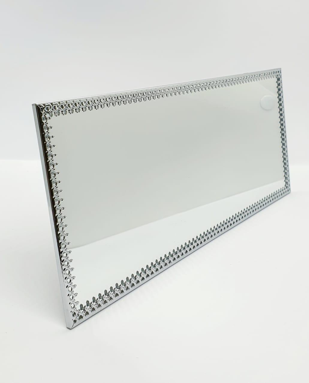 Bandeja espelhada retangular prata