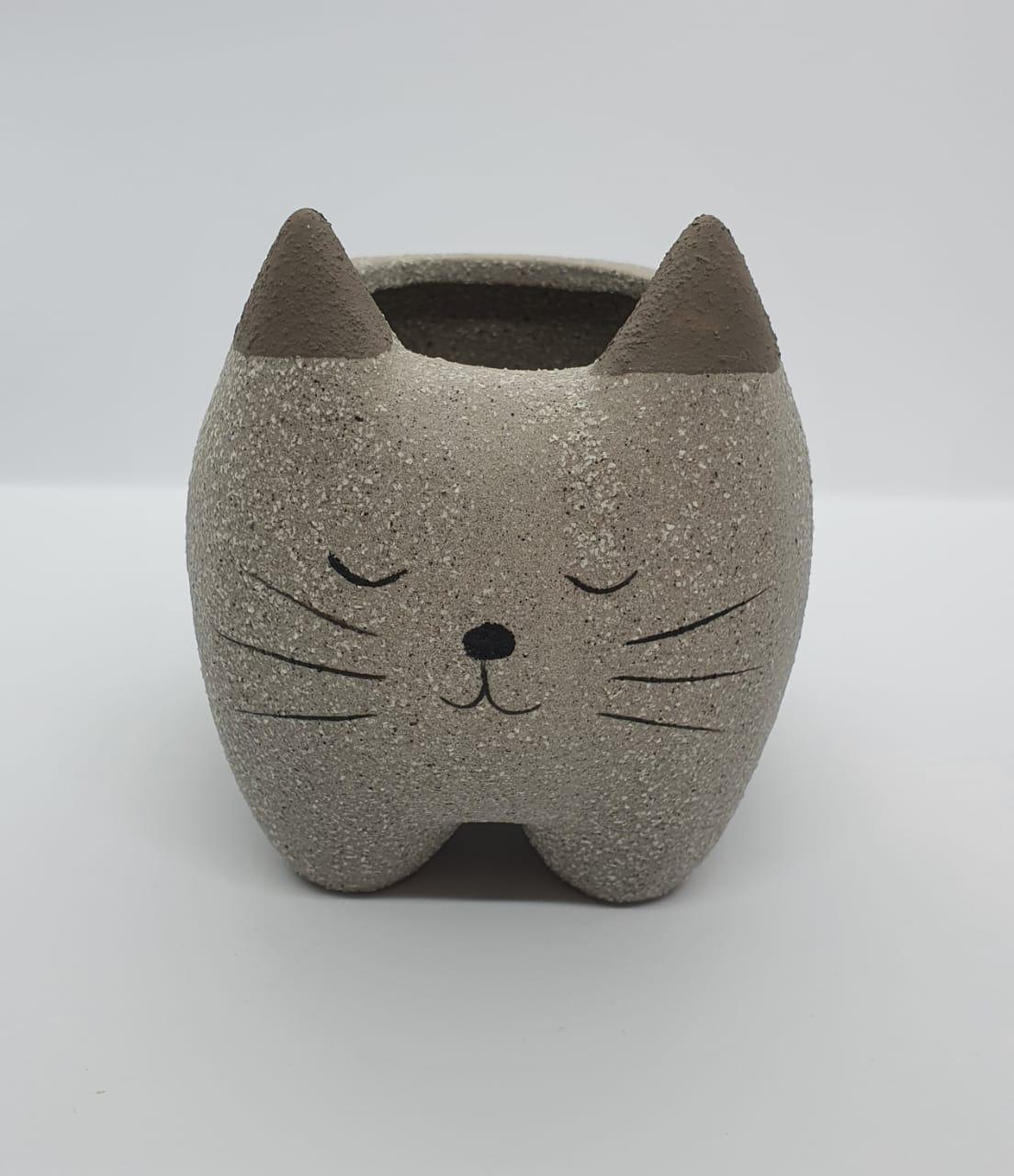 Cachepô de cerâmica cat cinza areia