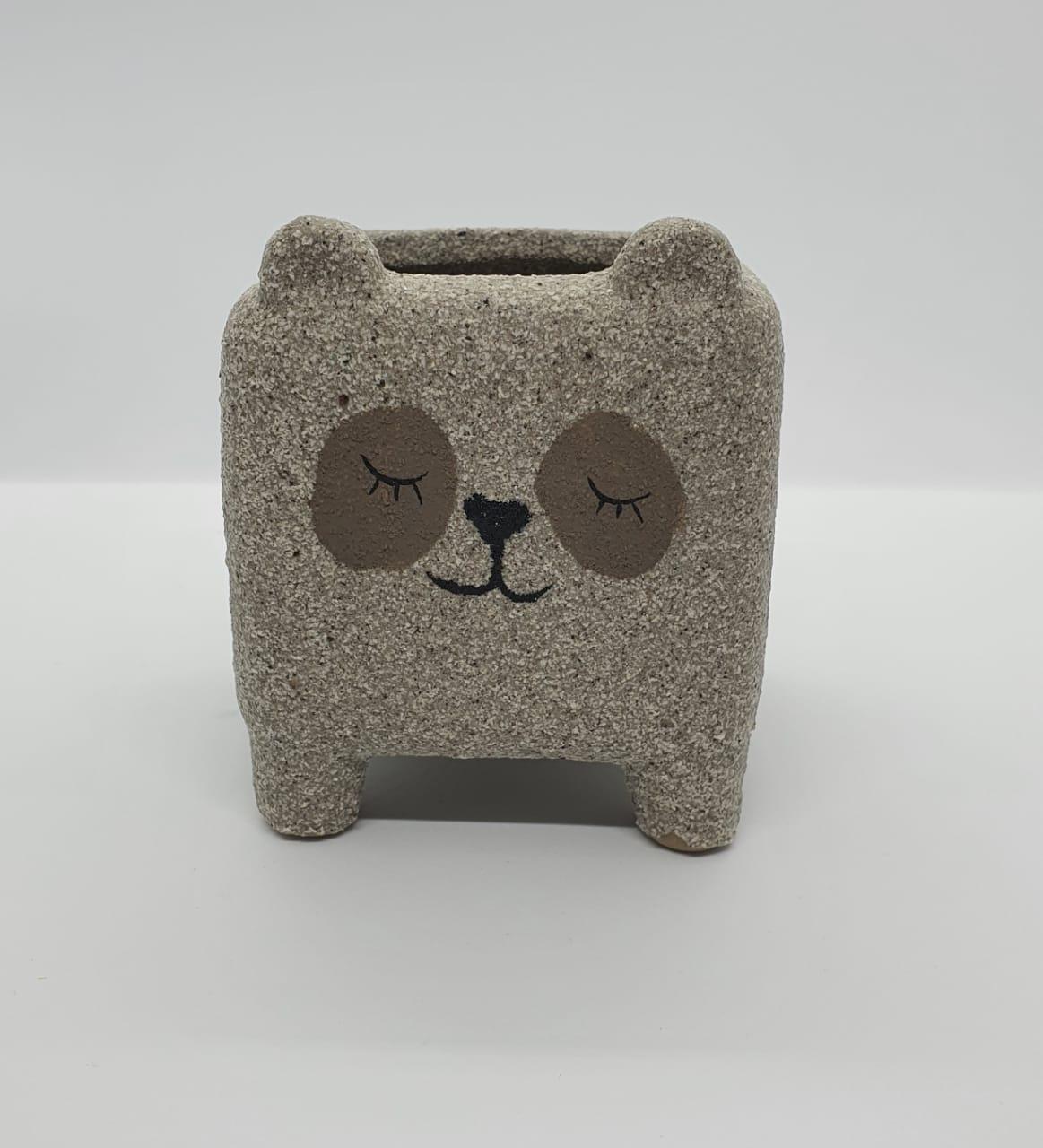 Cachepô de cerâmica panda cinza areia