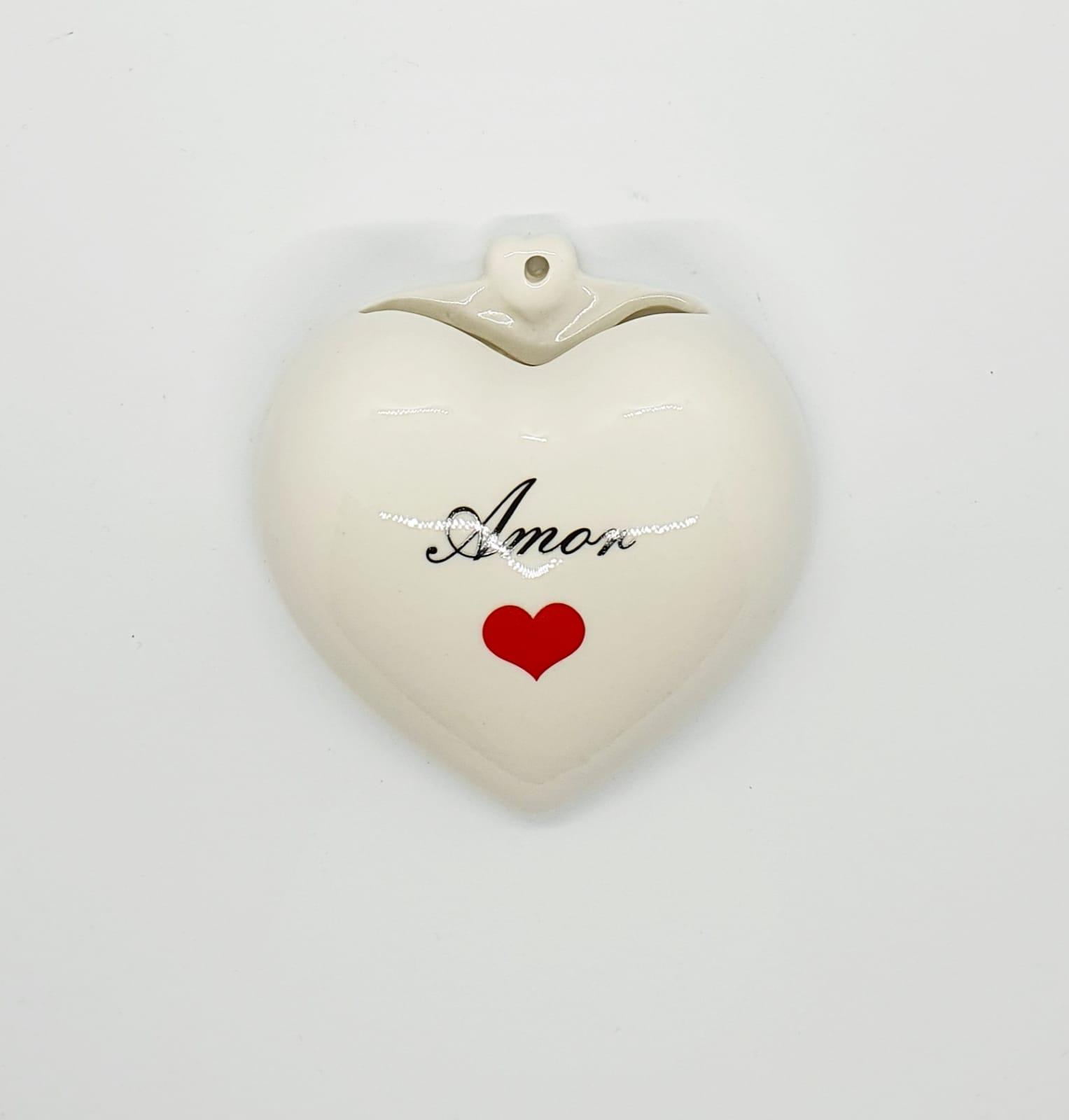 Cachepô de parede coração em porcelana - Amor.