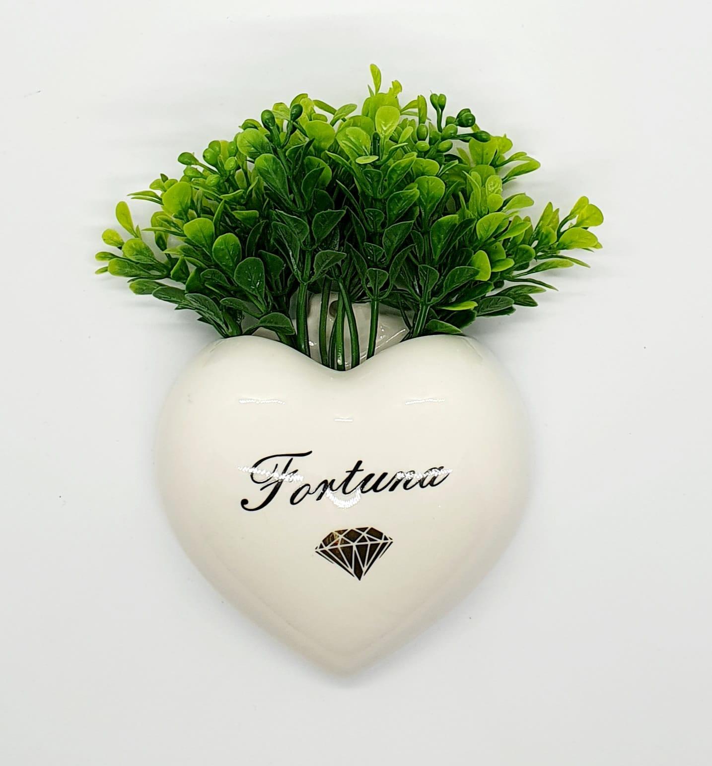 Cachepô de parede coração em porcelana - Fortuna.