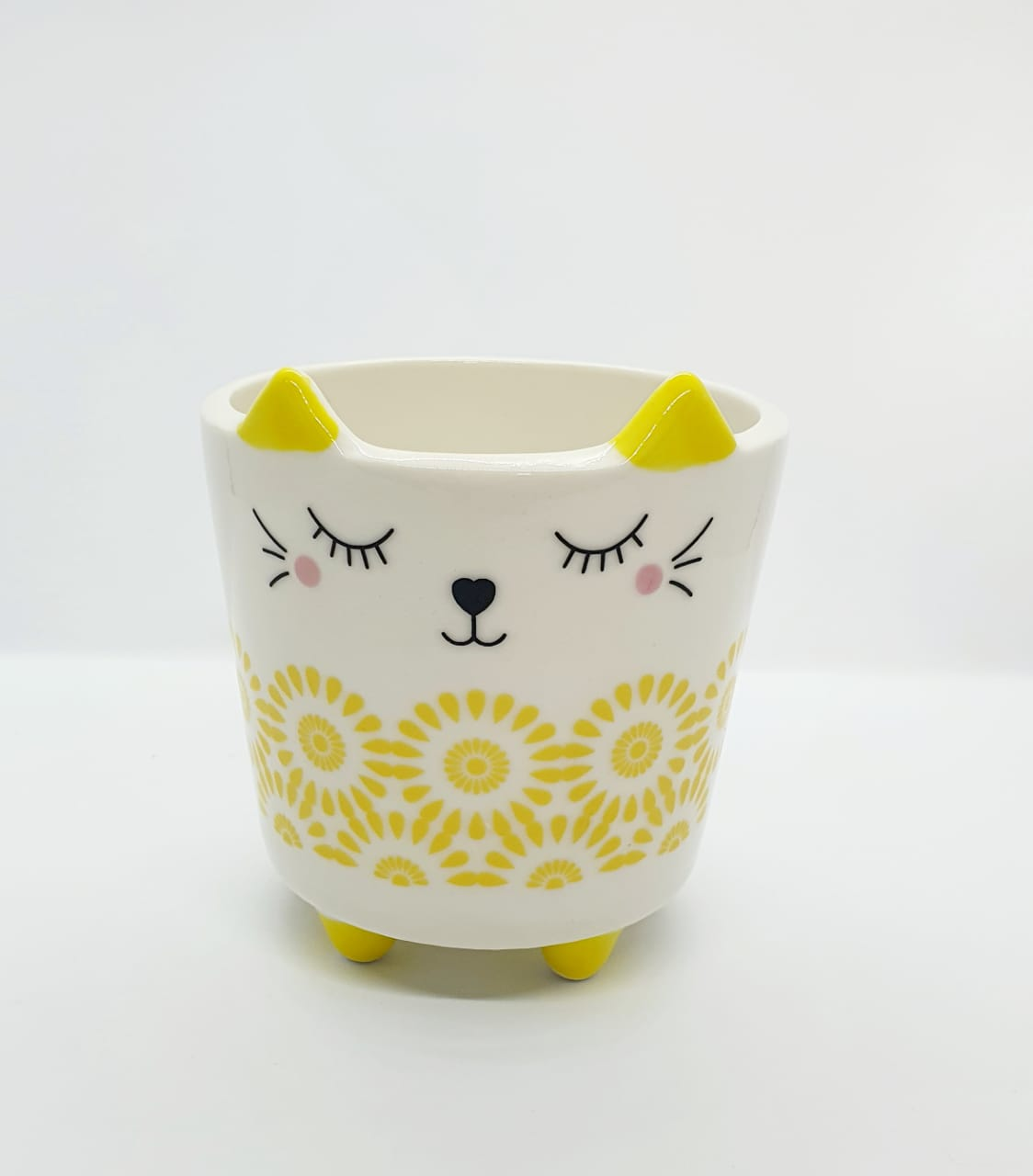 Cachepô de resina - gatinho amarelo