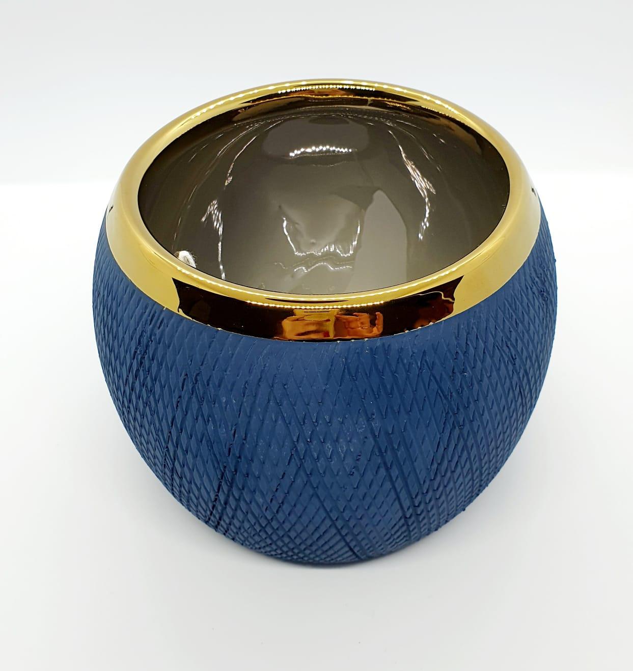 Cachepô Mirian em dolomita - azul marinho com dourado