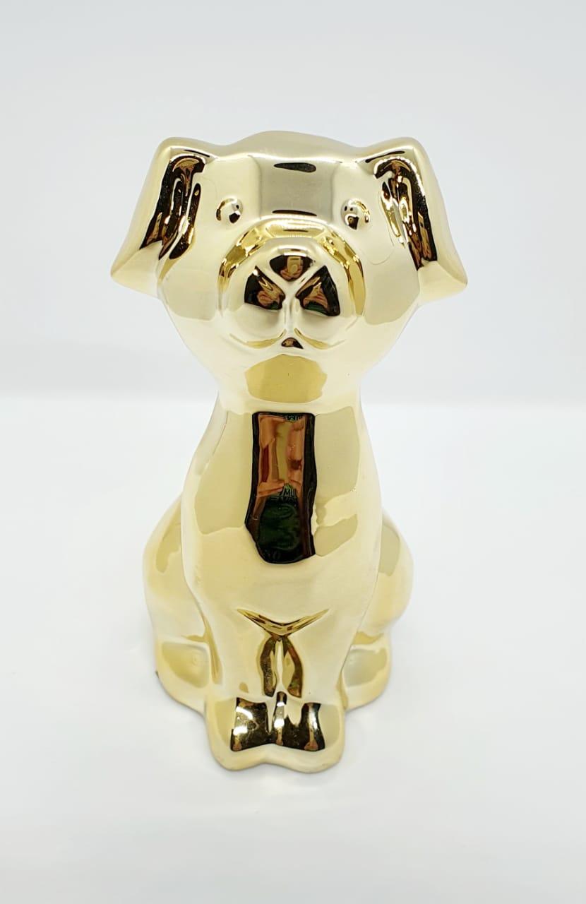 Cachorro sentado em cerâmica metalizado